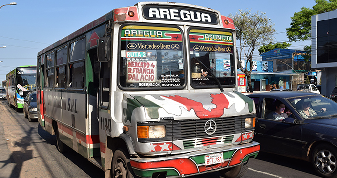 local bus in Asuncion by Tateyama, Shutterstock