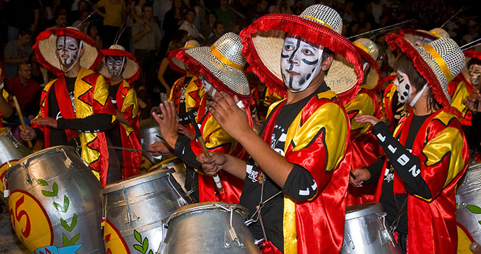Candombe drummers Carnaval Uruguay by Kobby Dagan, Shutterstock