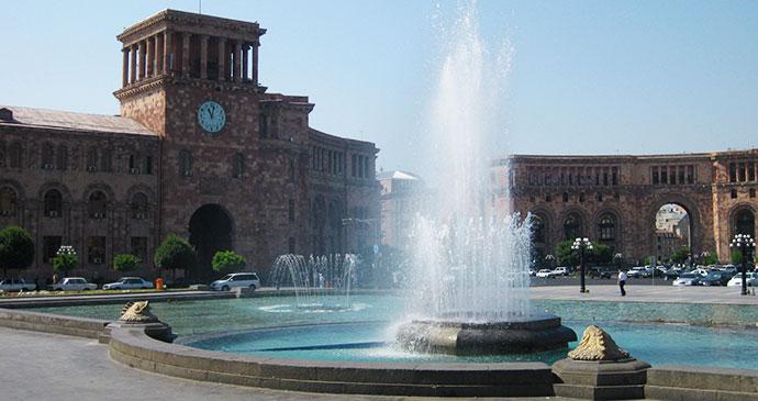 Republic Square Yerevan Armenia by Deirdre Holding