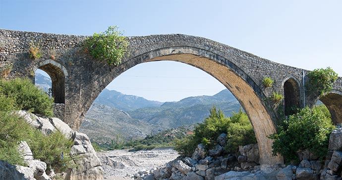 Mesi Bridge near Shkodra Albania by ollirg, Shutterstock