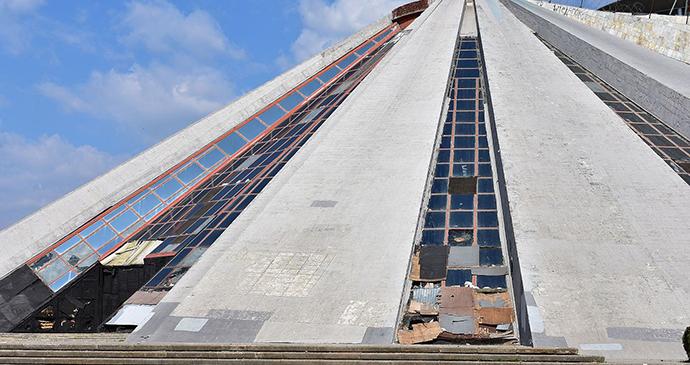 Pyramid, Tirana, Albania by Justin W. Flory, Wikimedia Commons