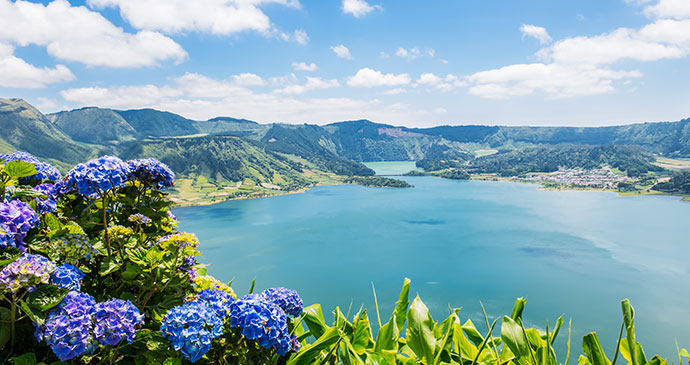 Sete Cidades, Sao Miguel, Azores, Portugal, by Vickyspaenhoven, Dreamstime most spectacular lakes in the world