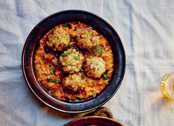 Squid meatballs with saffron & almond sauce, Jose Pizarro