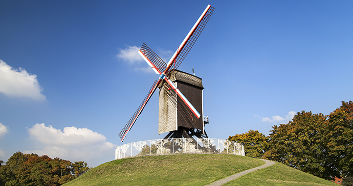 Windmill Bruges Flanders by Santi Rodriguez, Shutterstock