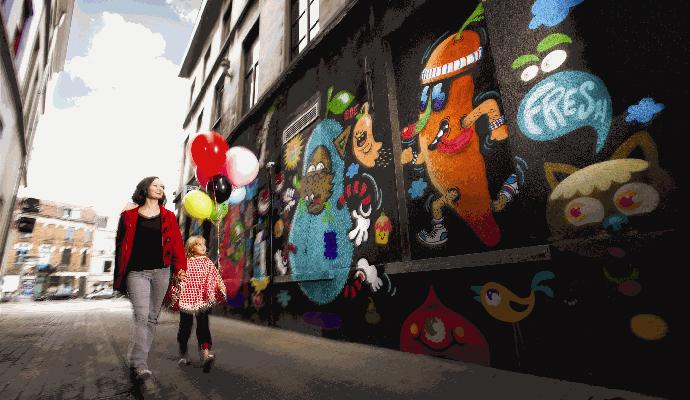Graffiti alley Hoogpoort Ghent Flanders Belgium by Eugène Hertoghe, VisitFlanders city break ghent