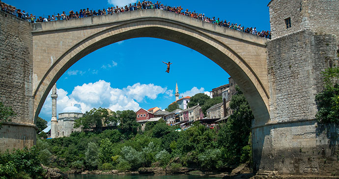 Diver, Stari most, Mostar, Bosnia by Pe3k, Shutterstock