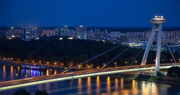 Most SNP Bridge Bratislava Slovakia by Jaroslav Moravcik, Shutterstock