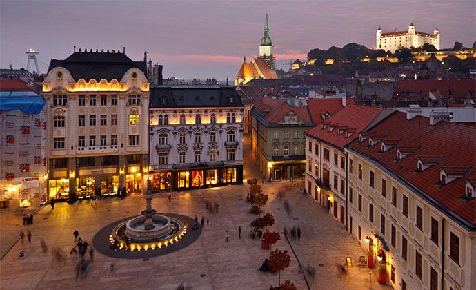 Hlavne namestie Main SQuare Bratislava Slovakia by David Vadkerti, Shutterstock