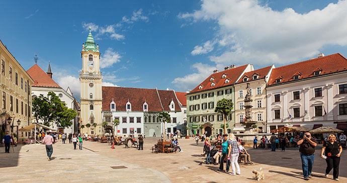 Hlavne namestie Main Square Bratislava Slovakia © Deymos.HR, Shutterstock