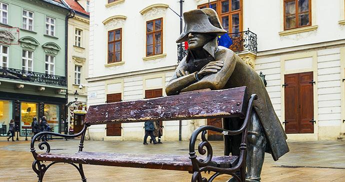 Napoleon soldier Hlavne namestie Bratislava Slovakia by dimbar76, Shutterstock