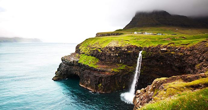 Waterfall at Gasadalur Vagar Faroe Islands by Regent Holidays
