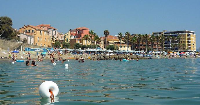 Beach, Taggia, Liguria, Italy by Wikimedia Commons