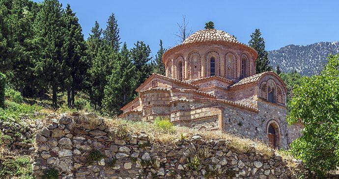 Church of Agios Nikolaos Mystras The Peloponnese Greece by Borisb17, Shutterstock