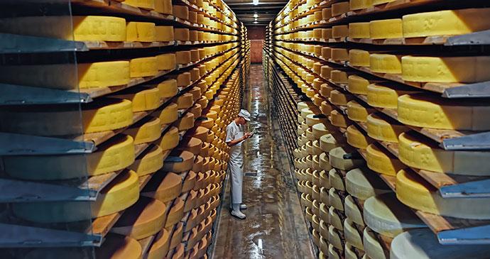 Maison du Gruyère cheese dairy Switzerland by Roman Babakin shutterstock