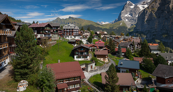 Mürren village Switzerland by Svein-Magne Tunli Wikimedia Commons
