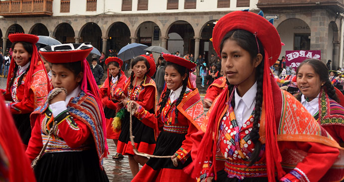Children celebrating Puno week Peru South America by Ana Racquel S. Hernandes