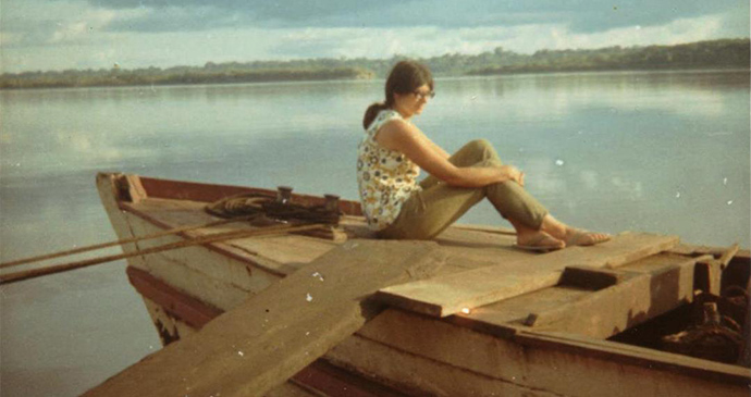 Me on an Amazon barge © Hilary Bradt