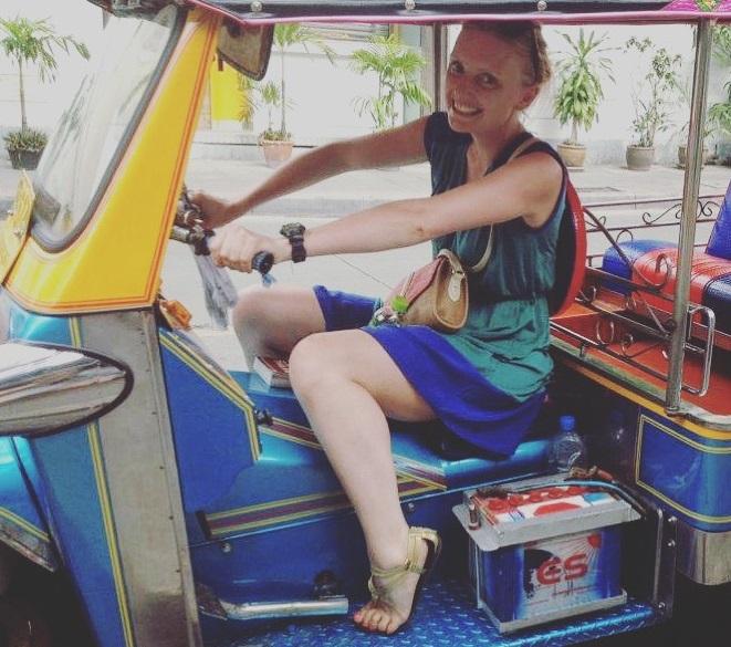 Driving a tuk tuk in Bangkok, Thailand © Gemma Thompson