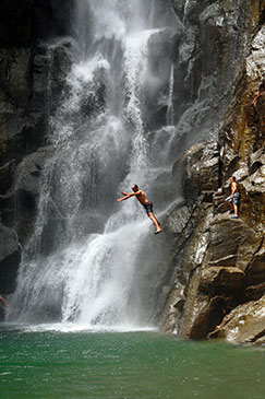 Visitors enjoying a break at Trafalgar Falls, Dominica