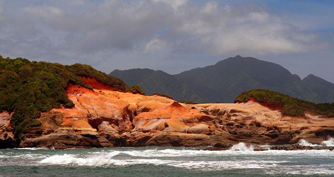 View of Red Rocks coastline by Celia Sorhaindo Tropical Ties