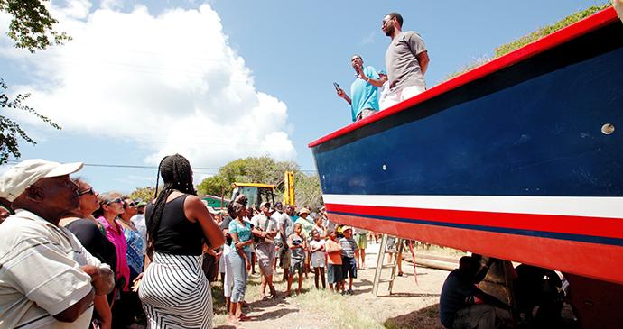 Carriacou boat launching Grenada by Paul Crask