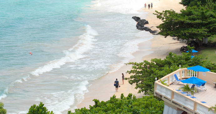 Beachgoers on Grand Anse Beach, Grenada by Celia Sorhaindo