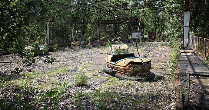 Bumper cars Pripyat Ukraine by Roman Harak