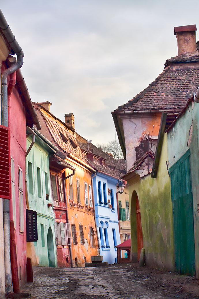 Medieval Street Sighisoara Transylvania by Gabriela Insuratelu Shutterstock