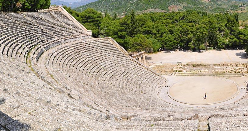 Ancient theatre of Epidavros Peloponnese Greece Europe by Joop Kleuskens Dreamstime