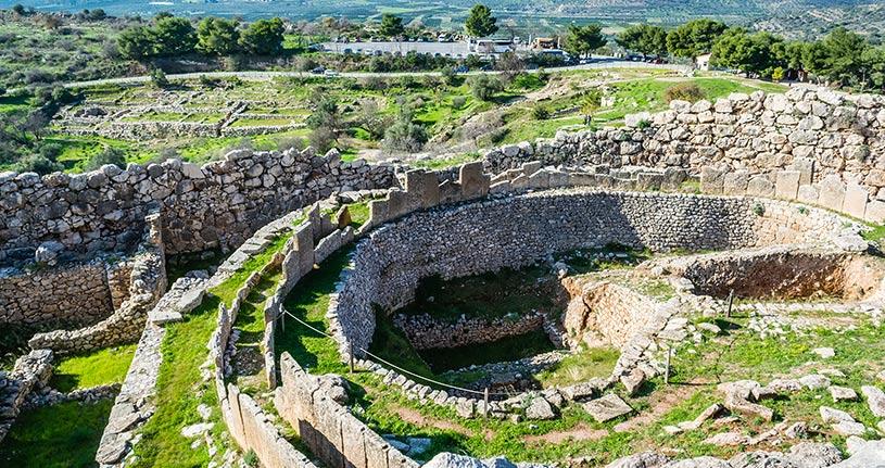 Walls Ancient Mycenae Peloponnese Greece Europe by  RODKARV Shutterstock