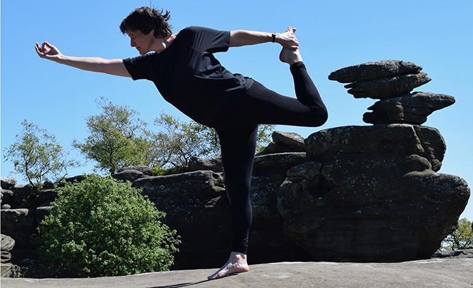 Yoga Brimham Rocks North Yorkshire by Paddy McEntaggart