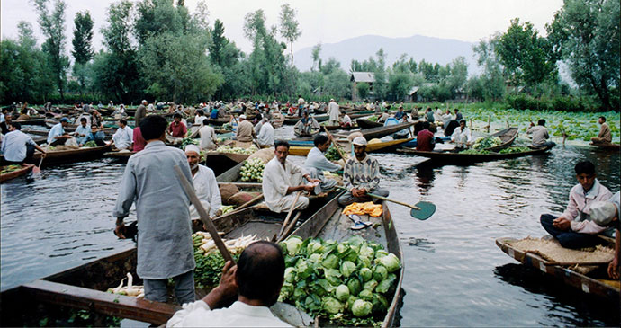 Dal Lake market Srinagar Kashmir India by Iain Campbell