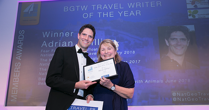 Adrian Phillips was awarded with the BGTW Travel Writer of the Year at the British Guild of Travel Writers awards 2019 © British Guild of Travel Writers
