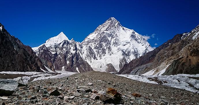 K2 behind Baltoro glacier, K2 Base Camp, Pakistan © khlongwangchao, Shutterstock