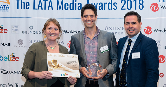 Adrian Phillips accepting his prize at the LATA awards 2018, London © LATA