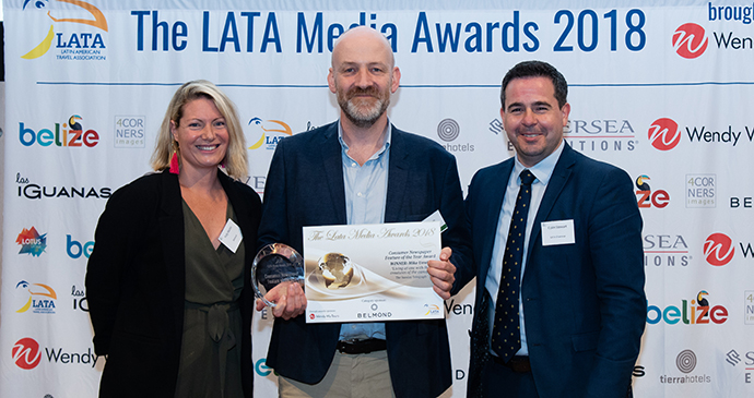 Mike Unwin accepting his prize at the LATA awards 2018, London © LATA