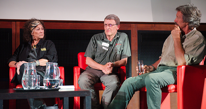 CCF founder Dr Laurie Marker speaking at the conservation panel during the 2018 Bradt Big Cat Festival, RGS London © Daniel Austin
